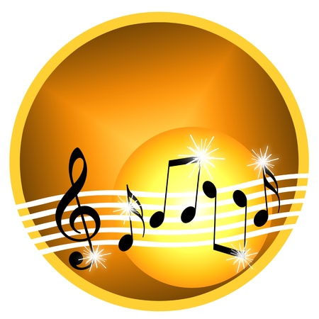 cd label: Gold music illustration with random musical symbols isolated over white background