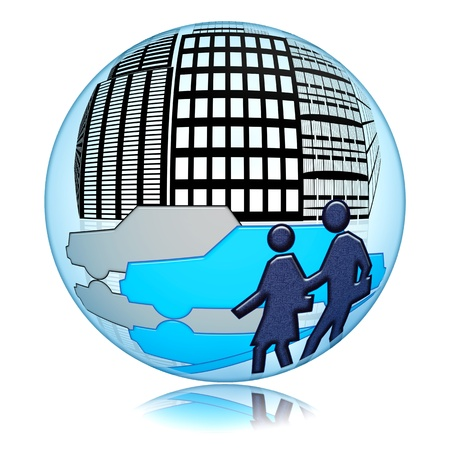 Traffic in the city, abstract urban scene with people and cars inside blue glass sphere isolated over white background photo