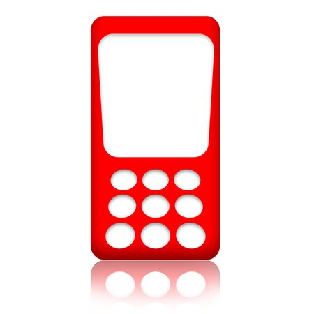caller: Red mobile phone with blank screen isolated over white background