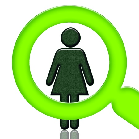 sociological: Woman under magnigier glass isolated over white background