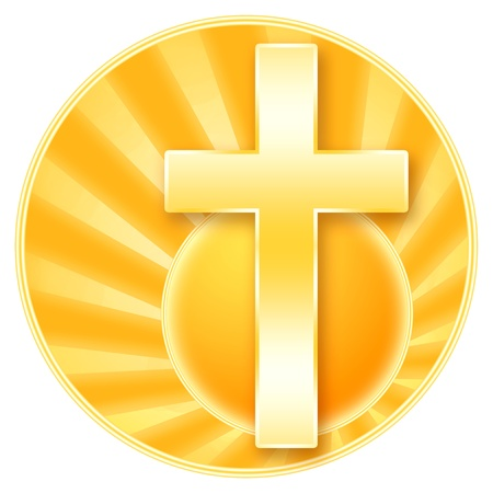 Christian cross and rising sun isolated over white background photo