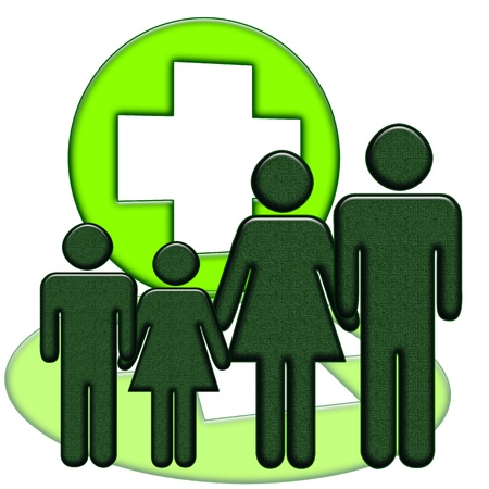Family medicine, children and adults standing together near green medical cross isolated over white background photo