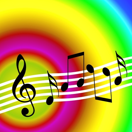 Colorful music background with random musical symbols  Stock Photo