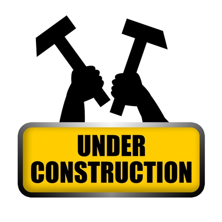Under construction roadsign plate with raised up the arms of workers holding hammers in hands