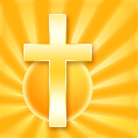 Christian holy сross in shining rays of the golden sun Stock Photo