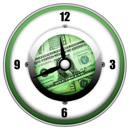 Time is money business concept with clock and money inside isolated over white background photo
