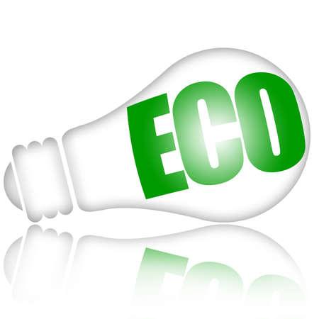 ahorro energia: Ahorro eco l�mpara con inscripci�n verde aislada sobre fondo blanco de energ�a