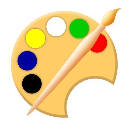 Paintbrush and palette artistic tools illustration isolated over white background illustration