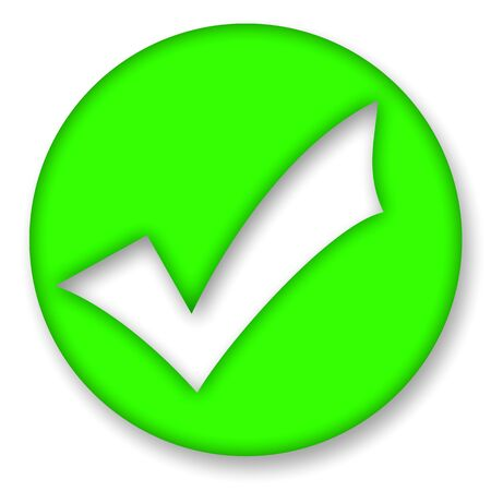 confirm confirmation: Green check mark sign illustration over white background Stock Photo