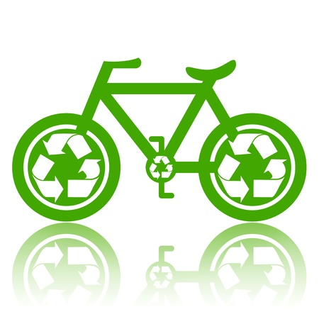 environmental safety: Bicycle with recycle symbol on wheels environmentally friendly transport concept illustration isolated over white background