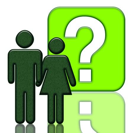 sociologia: Hombre y mujer cerrar con un signo de interrogaci�n, ilustraci�n para una amplia gama de temas (sociol�gicos, psicol�gicos, educativos, comerciales o temas cotidianos)