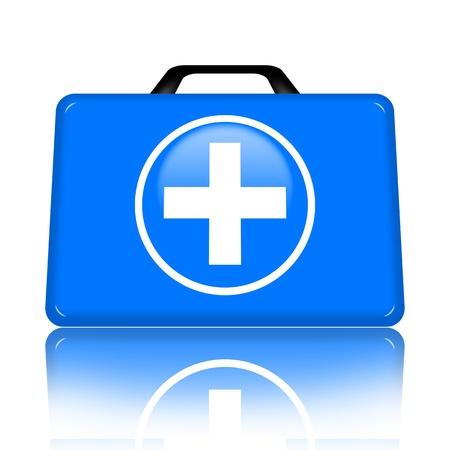 botiquin primeros auxilios: Botiqu�n de primeros auxilios con ilustraci�n Cruz m�dica aislada sobre fondo blanco