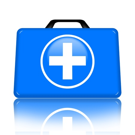 First aid kit with medical cross illustration isolated over white background