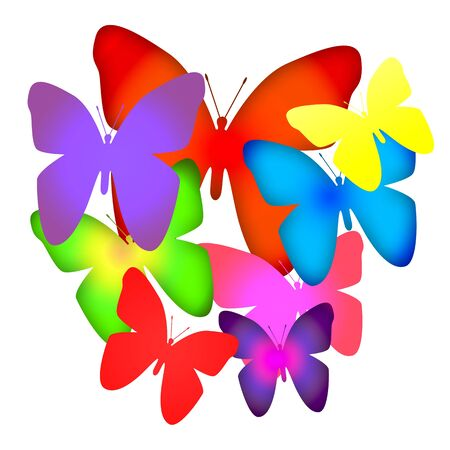 animalistic: Bouquet of butterflies, bright colorful illustration isolated over white background