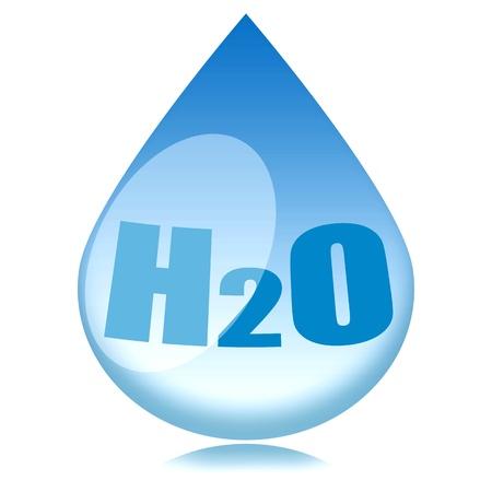 distilled water: Gota de agua con H2o f�rmula dentro aislada sobre fondo blanco