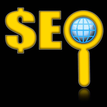 SEO concept, Advantage search engine optimization with dollar mark and globe under magnifier glass isolated over black background photo