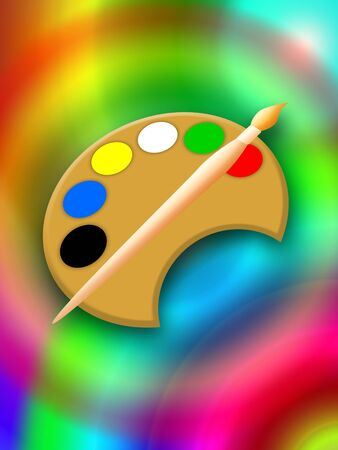 Magic painting with paintbrush and palette, bright colorful illustration illustration