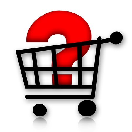 Shopping cart with big red question mark inside over white background photo