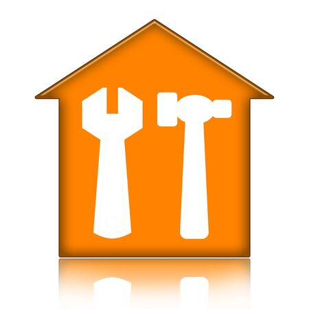 House with tools isolated over white background Foto de archivo