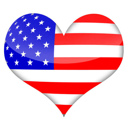 American heart styled flag isolated over white background