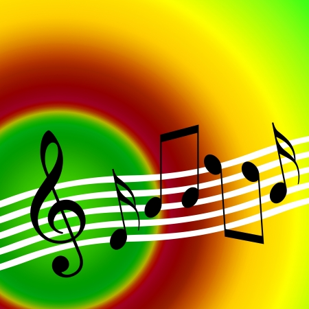 Warm color musical background with random notes and treble clef photo