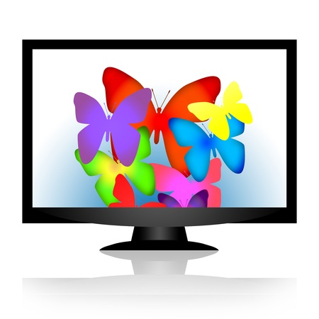 Modern computer monitor or TV set with bright color butterflies on the screen