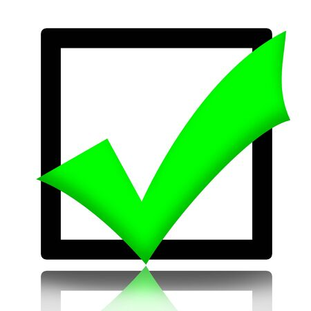 checkbox: Segno di spunta verde simbolo illustrazione isolato su sfondo bianco Archivio Fotografico