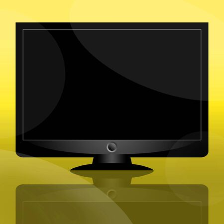Modern TV set or computer monitor over yellow background photo