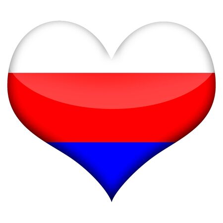 russian: Russian flag styled heart isolated over white background Stock Photo