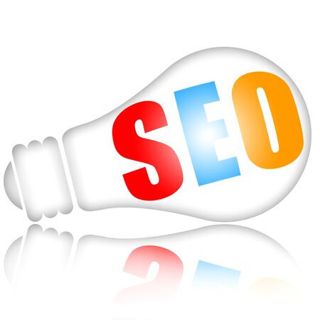 Search engine optimization concept with bright electric lamp photo