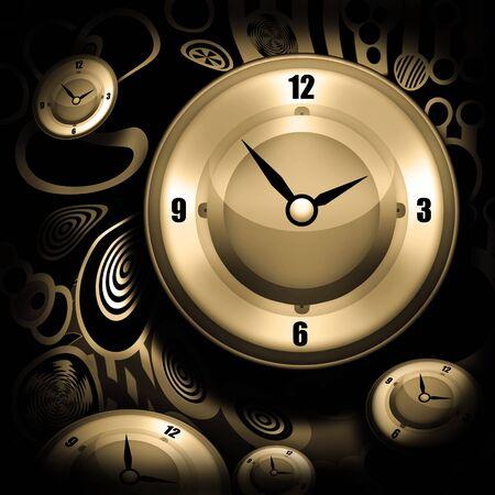 cronologia: Concepto de tiempo con relojes Foto de archivo