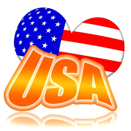 United States of America, USA golden plate with american flag styled heart illustration isolated over white background Stock Illustration - 9969633