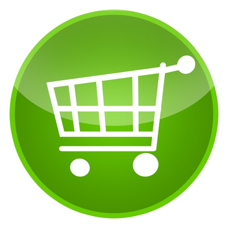 Green glossy sign with shopping cart isolated over white background