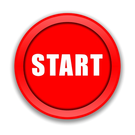 starting: Red start button over white background