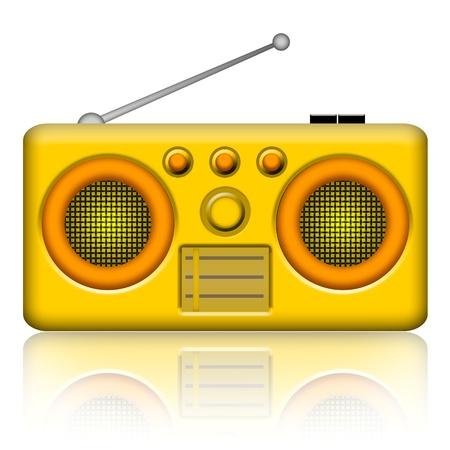 radio retr�: Ricevitore stereo radio isolato su sfondo bianco