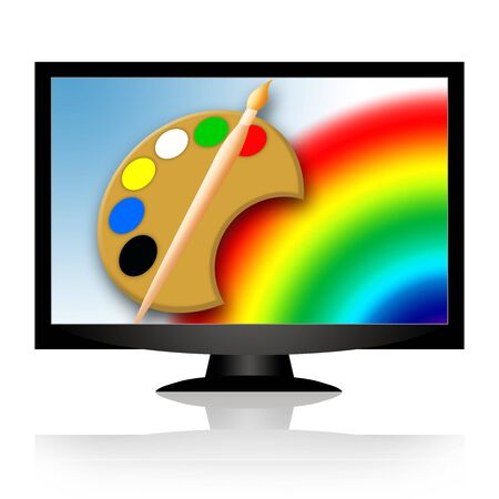 Technology and Art, painting tools and rainbow in blue sky on the screen of modern monitor or tv photo