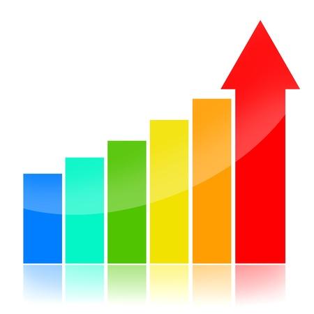장점: 비즈니스 성공 차트, 흰색 배경 위에 절연 다채로운 개념