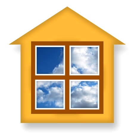 Cozy warm house with blue sky in windows photo