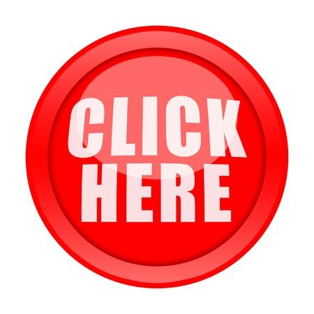 klik: Grote rode knop Klik hier geïsoleerd op witte achtergrond