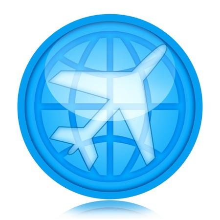 Icono de aviones con avión y Globo dentro de la esfera de cristal