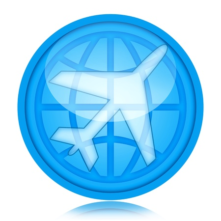 Aircraft icon with airplane and globe inside glass sphere Banque d'images
