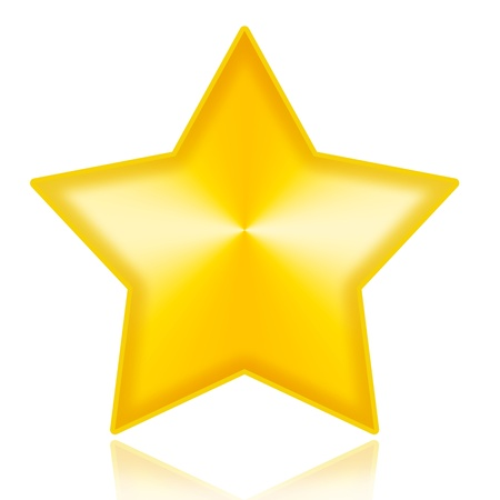 five stars: Golden star illustration isolated on white background