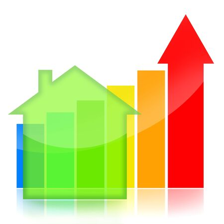 Housing market business charts with green house and colorful statistical bar Banque d'images