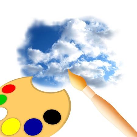 Artist painting sky photo