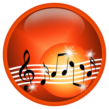 Hot Music, illustration with random musical symbols isolated over white background