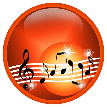 note musicale: Musica calda, illustrazione con casuale simboli musicali isolato su sfondo bianco