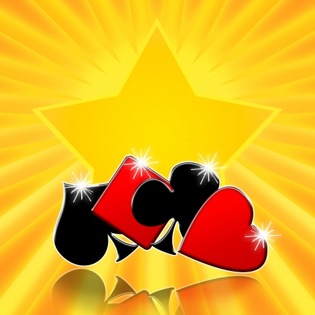 Card games shining lucky star casino background photo