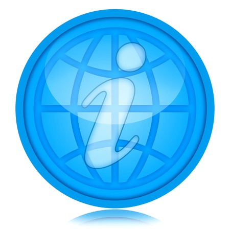 Information symbol and globe inside glass sphere isolated over white background