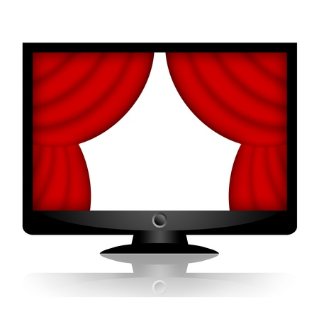 promote: Presentation on multimedia monitor or tv with red drape curtains isolated on white background Stock Photo