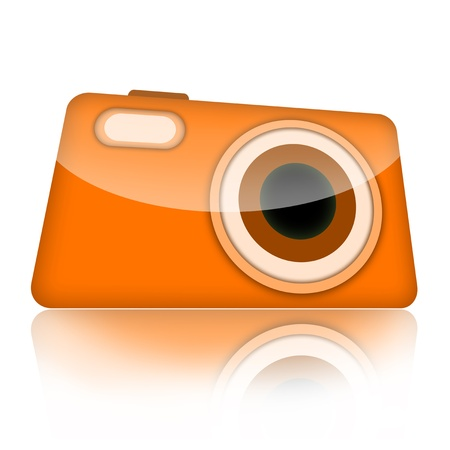 Compact digital photo camera isolated over white background photo